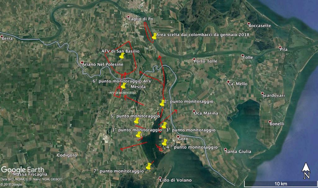Mappa punti monitoraggio e aree frequentate