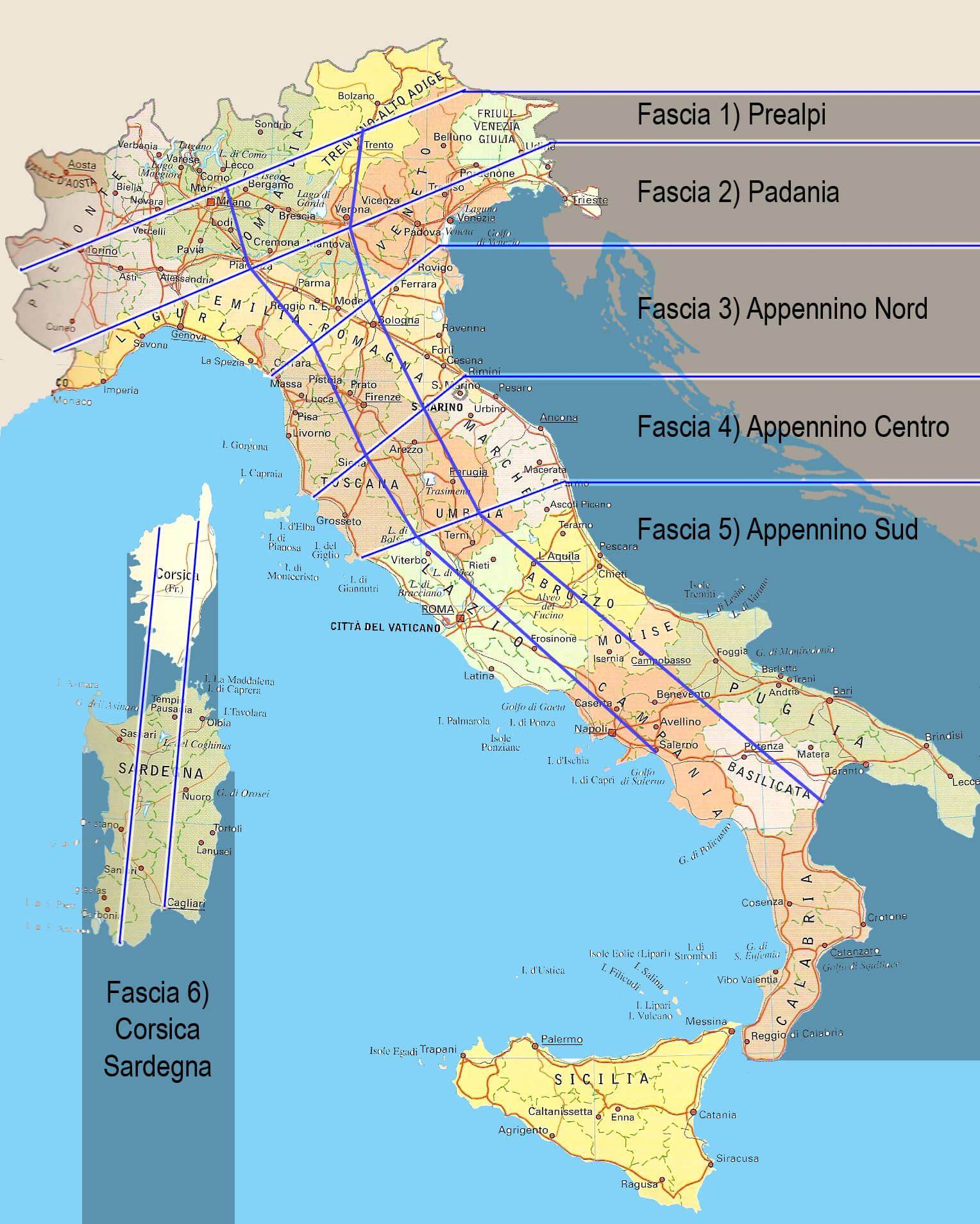 mappa cartina politica italia fasce